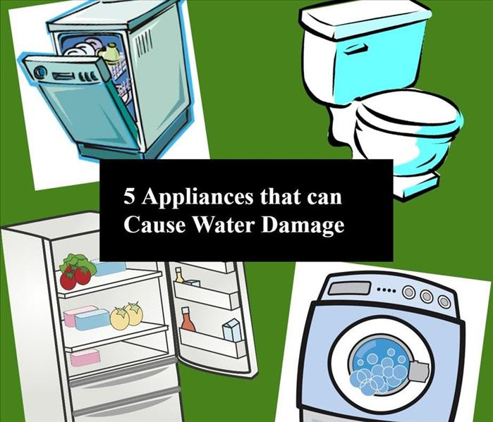 This is a picture of a few appliances that cause water damage like toilets and refrigerators